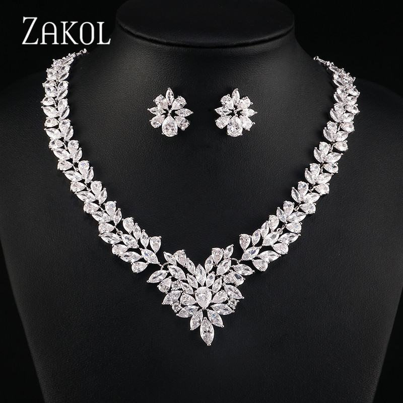 ZAKOL Luxury Jewelry Set Flower Shape Cubic Zircon Necklace Earrings Classic Wedding Jewelry Sets FSSP035 uilz luxury flower shape clear cubic zircon necklace earrings bracelet ring jewelry set for women wedding us225