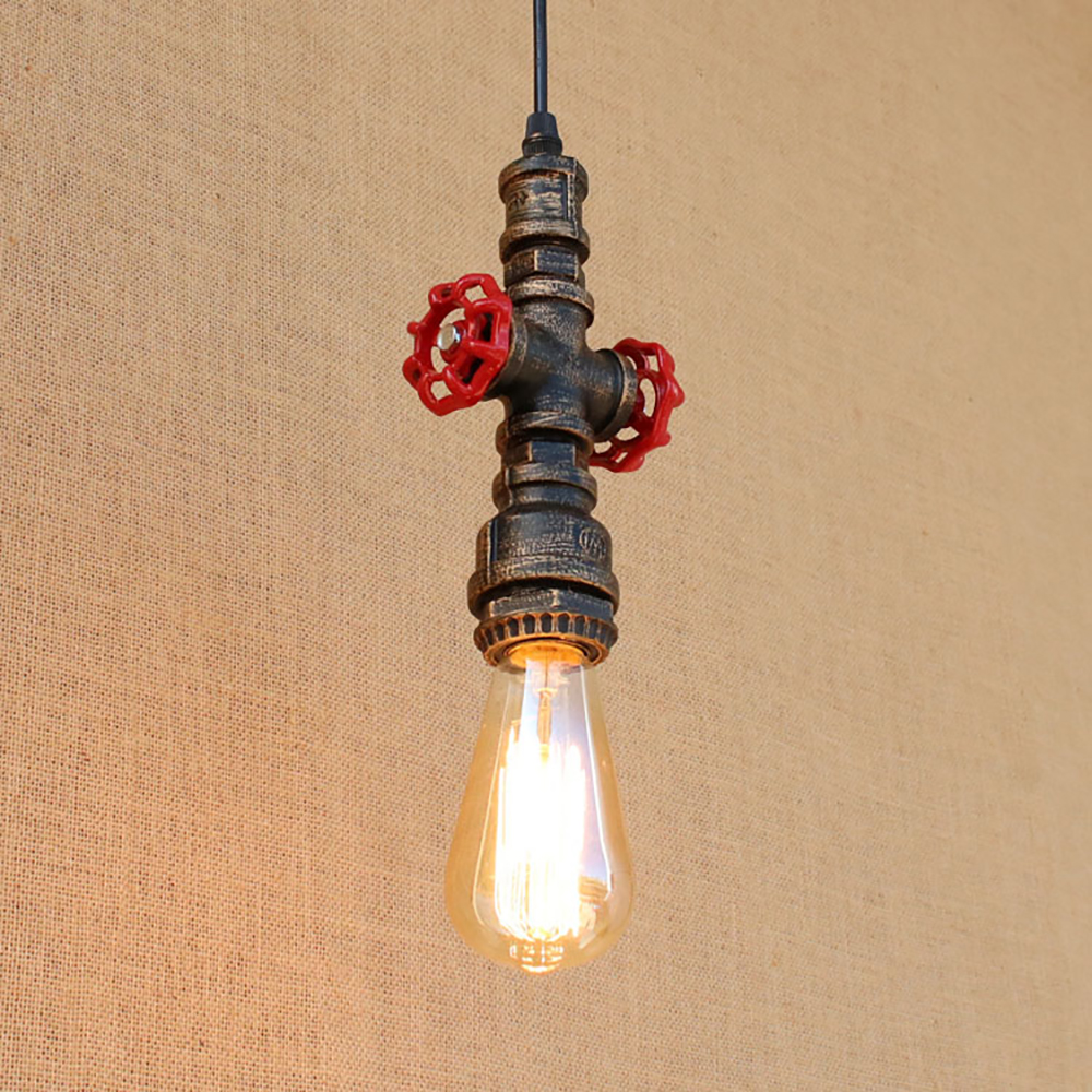 2 style Loft industrial Iron steam punk water Pipe Vintage pendant lamp cord e27 lights for personalized bar dining/living room 4 color loft industrial iron water pipe vintage pendant lamp cord e27 antique rust lights for personalized cafe bar dining room