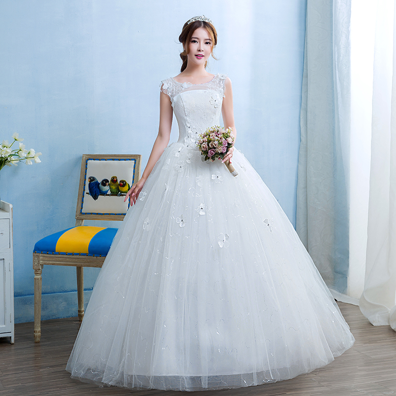 Fansmile Cheap Robes de Mariee Vintage Lace Up Ball Wedding Dresses 2020 Bridal Dress Real Photo Wedding Gowns FSM-240F