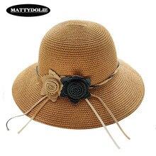 MATTYDOLIE New Flower Hat Ladies Summer Big Side Dome Sun Outdoor Travel Beach  Visor Straw