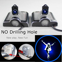 Pair No Drill LED Light Car Door Welcome Projector Ghost Shadow Light Logo Lamp For Michael