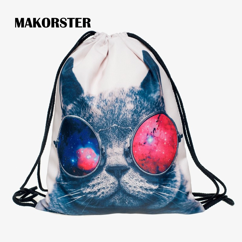 MAKORSTER Cotton Fabric Cat Backpack Beach Drawstring Bag String Fashion Teenage Girls Backpacks for Women sac a dos XH253/1
