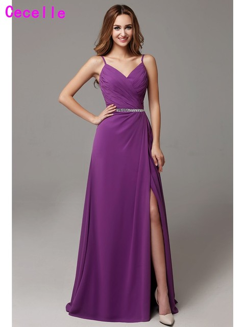 2019 Sexy Purple Long Bridesmaid Dresses Floor Length V Neck Spaghetti Straps Pleat Chiffon Bridesmaid Gowns Wedding Party Dress
