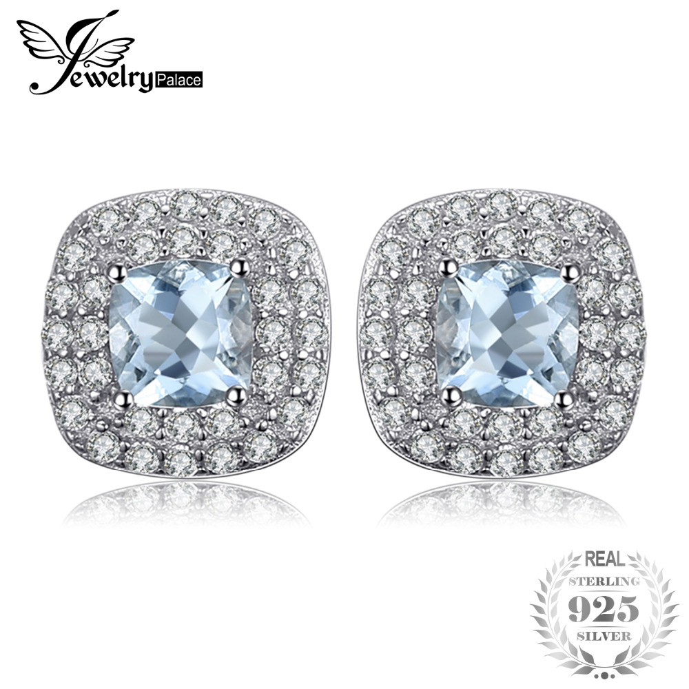 JewelryPalace Cushion Cut 0.9ct Natural Aquamarines Halo Stud Earrings 925 Sterling Silver Earrings For Women 2017 Jewelry