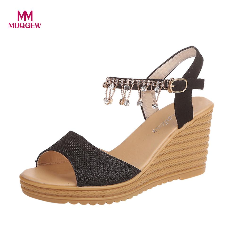 Women Summer Sandals Casual Shoes Ladies Round Toe Platform High Heels Wedge Sandals Buckle Slope Sandals Shoes zapatos mujer poadisfoo 2017 new ethnic women s shoes bohemian diamond slope with a large summer sandals zapatos mujer jxf 6662b