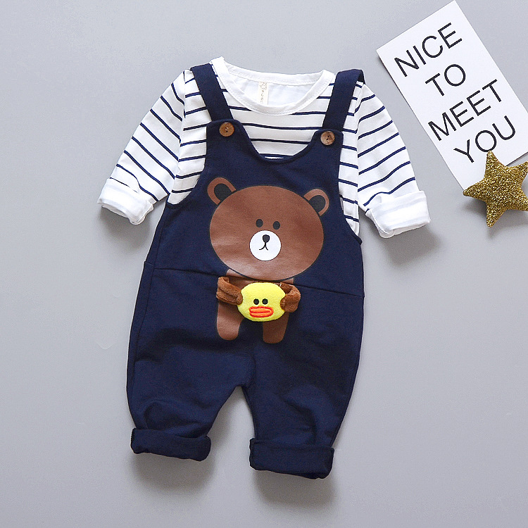 Autumn Baby boy clothes bebe boys clothes set Baby Infantil baby clothing Boys Striped T shirt +cartoon bear overalls pants baby boys clothes girls clothing set toddler infantil costumes t shirt pants suit 3 6 9 months spring autumn baby clothes