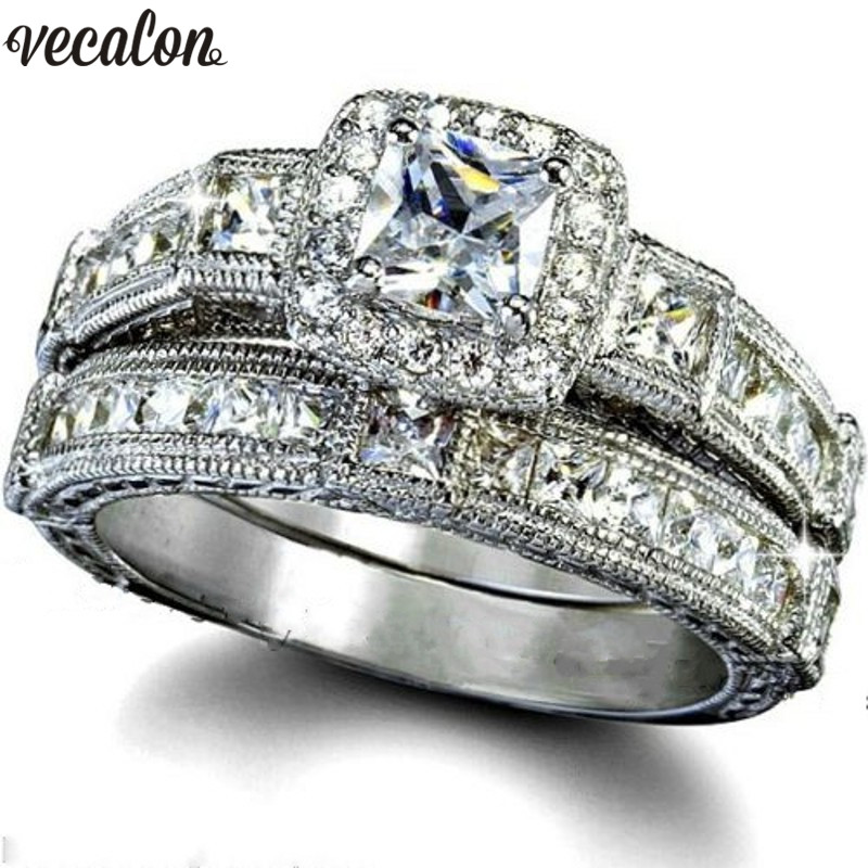 Vecalon 2018 Vintage Ring set Princess cut 5A Zircon Cz 925 Sterling Silver Engagement Wedding Band rings for women Bridal Gift vecalon heart shape jewelry 925 sterling silver ring 5a zircon cz diamont engagement wedding band rings for women bridal gift