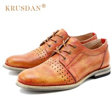 KRUSDAN Vintage Breathable Man Derby Dress Shoes Genuine Leather Handmade Party Oxfords Round Toe Laced Men's Casual Flats