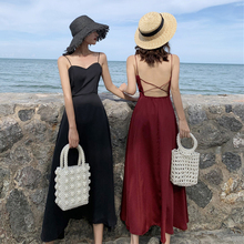 Backless Sexy Holiday Style Black Dress Women Korean A Line Solid Color Spaghetti Strap Dresses Red Elegant Maxi Dress Summer все цены