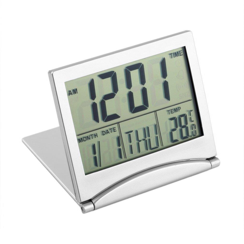 Digital LCD Display Thermometer Calendar Alarm Clock Foldable Cover Desk Clock 87*78*12mm
