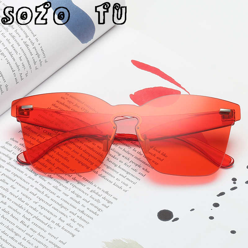 98359b51bd37 SOZO TU 2018 Candy Shape Sunglasses Women Siamese Rimless Frame Tint Clear  Lens Colorful Sun Glasses