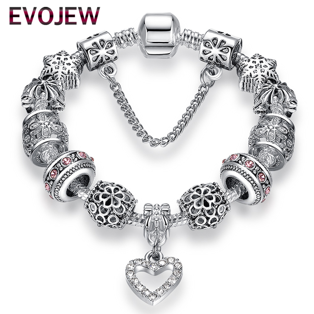 Fashion Antique 925 Silver Bracelets & Bangles Crystal Hearts