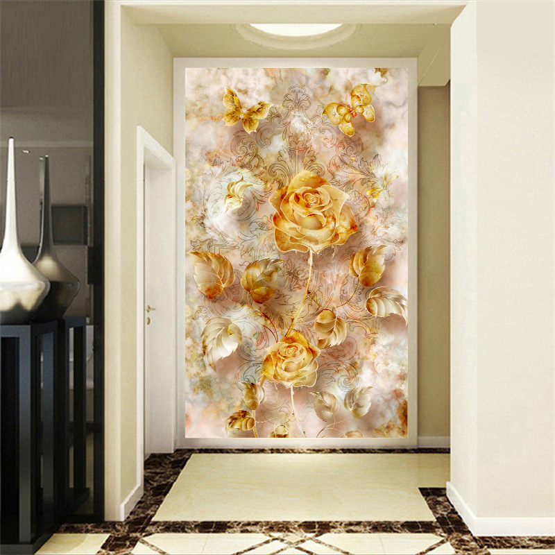 Custom 3D photo wallpapers golden Flowers entrance hallway wallpaper 3d wall papers hallway mural wallpaper papel de parede custom european style wallpapers little angel fresco wallpaper for walls 3d hotel greek mythology mural western photo wallpapers