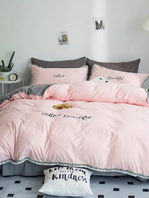 c1f8b82498 Hello Beautiful Embroidery Bedding Set White Pink Blue 4Pcs Duvet Cover  Flat Sheet Pillow Cases