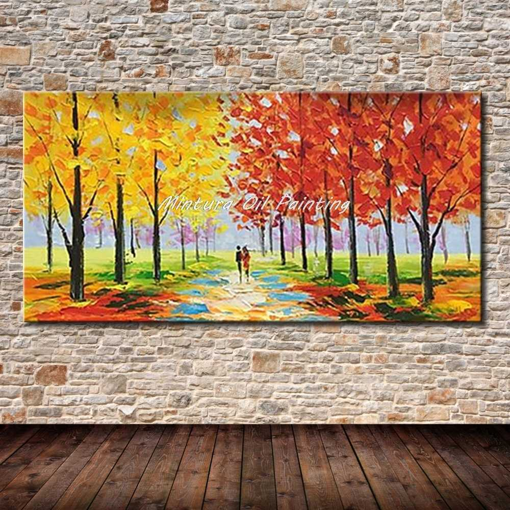 Mintura Art Palette Knife Large Multicolor Abstract Oil Paintings On Canvas Modern Home Wall Art Decor Picture For Living Room
