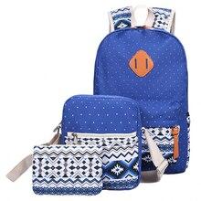 3 PCS/Set Women Backpack Canvas Printing School Bags For Teenagers Girls Backpacks Mochila Cute Rucksack Lady Bookbags Female