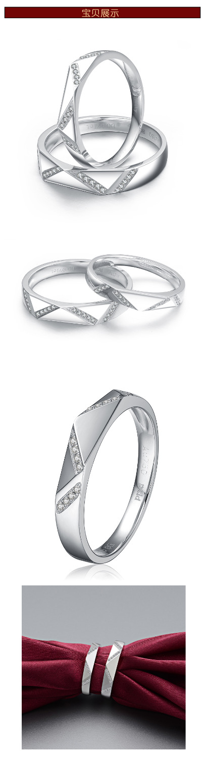 Creative Wedding Couple Rings 925 Sterling Silver White Gold Plated Lovers Ring Simulated Diamond Wedding Set