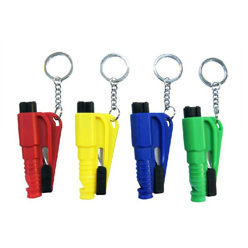 5pcs/lot  Opp Package 3 In 1 Mini Keychain Rescue Tool Keychain Emergency Hammer With Whistle And Belt Cutter Retail Package