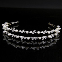 TUANMING Pearl Crystal Bridal Hairband silver Tiaras Wedding Crown leaf Rhinestone For Bride Hair Jewelry Accessorie