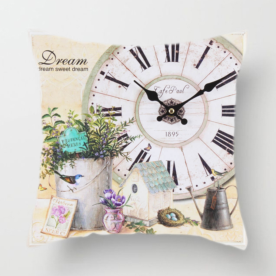 Image 5 - Clock Flower Throw Cushion Pillow Covers 45x45cm Decorative Kitchen Sofa Wedding Home Decoration Accessories Pink Room Decor-in Cushion Cover from Home & Garden