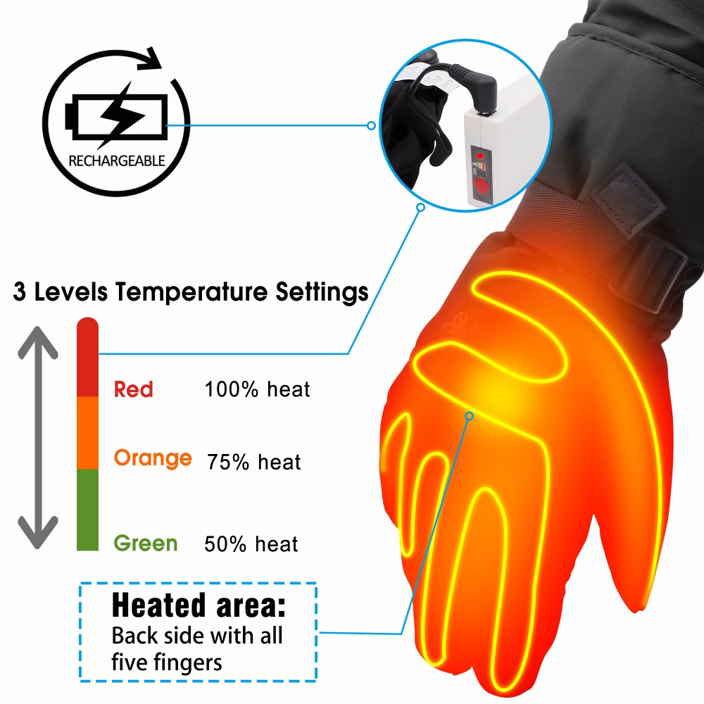 Black Winter Warm <font><b>Heated</b></font> <font><b>Gloves</b></font>. 3.7V Touch Rechargeable <font><b>Battery</b></font> <font><b>Heated</b></font> <font><b>Gloves</b></font> For Men Women Cycling Hiking Outdoor Activities