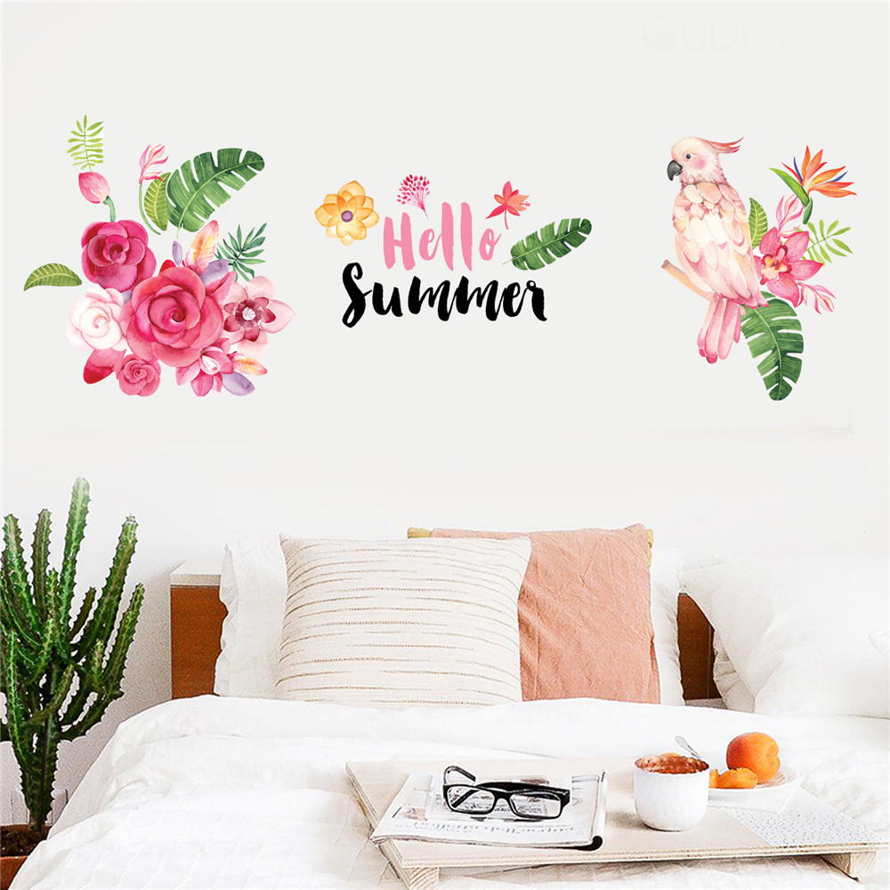 Summer Parrot Flower Removable Vinyl Wall Decal Family Tv Background