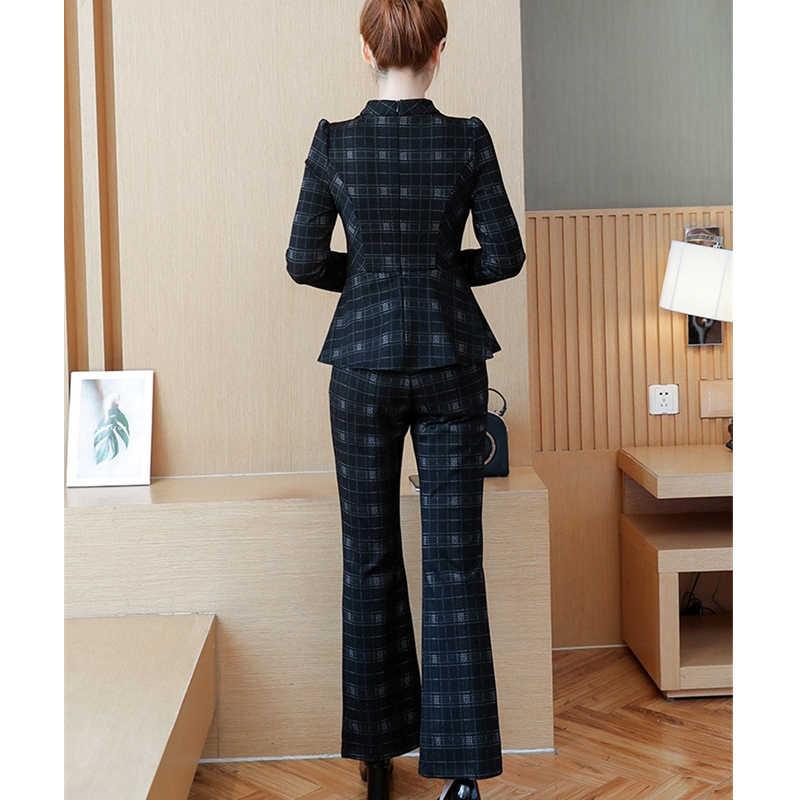 여자 두 조각 세트 2019 봄 새로운 캐주얼 패션 우아한 줄무늬 긴 소매 프릴 넓은 다리 바지 여성 사무실 숙녀 q440