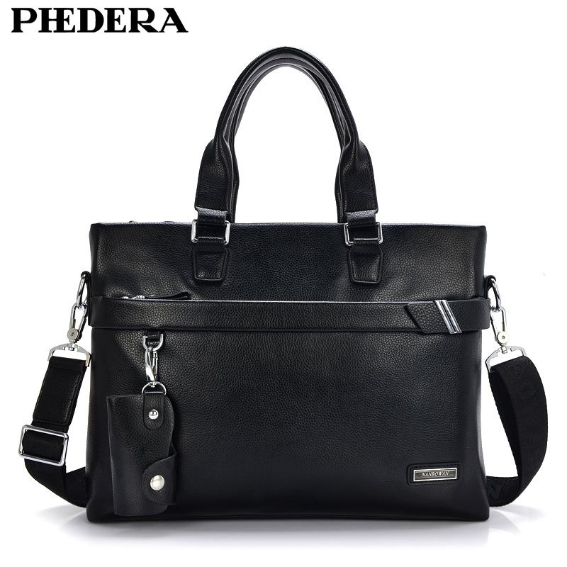 купить PHEHDERA Men Real Leather Briefcase Shoulder Bag Classic Black Brown Male Business Handbag Leather Computer Laptop Bags онлайн