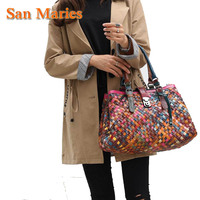 San Maries Designer Handbag High Quality Genuine Leather Vintage Colorful Tote Large Weave Handbags Shoulder Bags