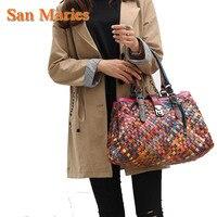 San Maries Designer Handbag High Quality Genuine Leather Vintage Colorful Tote Large Weave Handbags Shoulder Bags