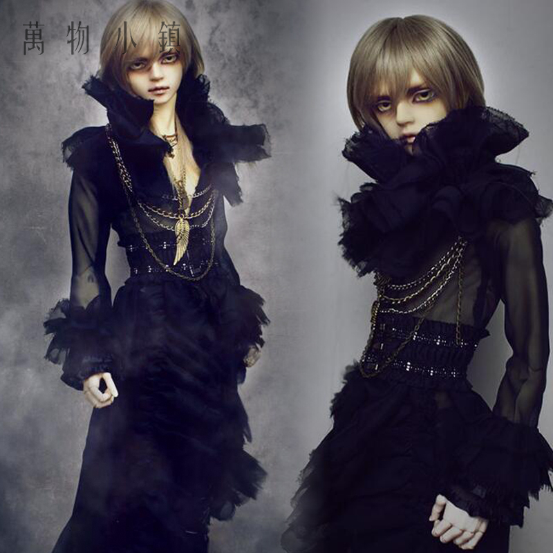 New uncle 1/3 BJD Boy SD Doll Clothes Black Gothic Long black gauze clothing + beam wais accept custom european style black leather suit bjd uncle 1 3 sd ssdf doll clothes