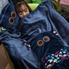 Dark Blue Cute Cartoon Pattern Blanket Adults Decoration With Easy To Carry Can Wear Pillow Blanket