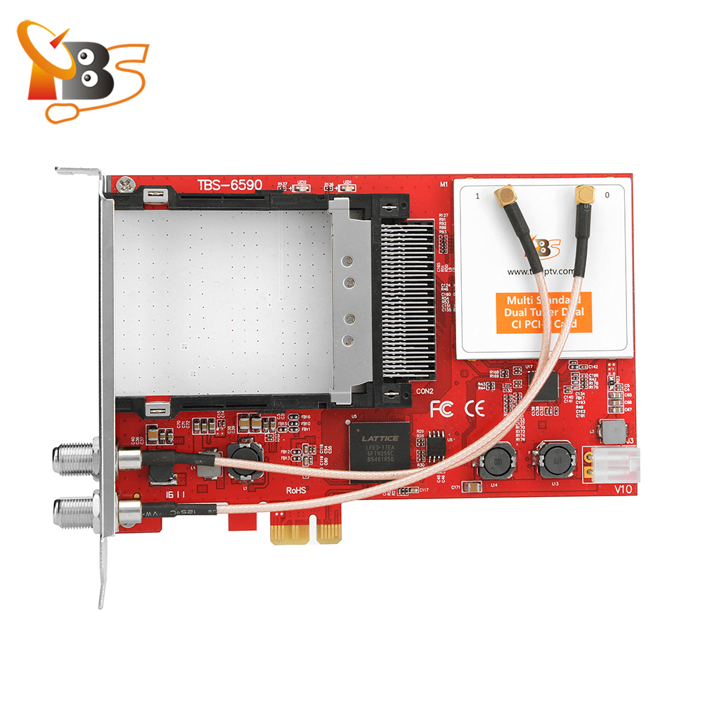 TBS6590 Multi Standard Dual Tuner Dual CI PCI-e Card Supporting DVB-S2/S, DVB-T2/T,DVB-C2/C, DVB-S2X And ISDB-T
