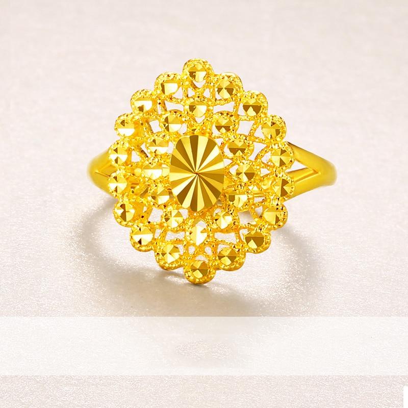 Anillo de oro puro de 24K Real AU 999 anillos de oro sólido elegante corazón brillante hermosa joyería clásica de moda elegante venta nuevo 2019 - 2