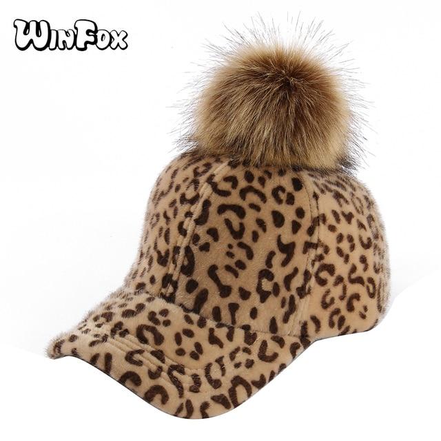 0daad6cfb98 Winfox Vintage Leopard Faux Fur Pom Pom Winter Women Adjustable Baseball  Caps Sun Golf Casquette Flat Caps Snapbacks Hats