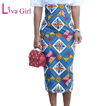 Liva Girl African Print Bodycon Pencil Skirt Summer Women High Waist Midi Skirts Office Vintage Elegant Skirt Saia Femininas Юбка