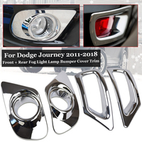 Chrome Front+ Rear Fog Light Lamp Bumper Cover Trim For Dodge Journey 11 18