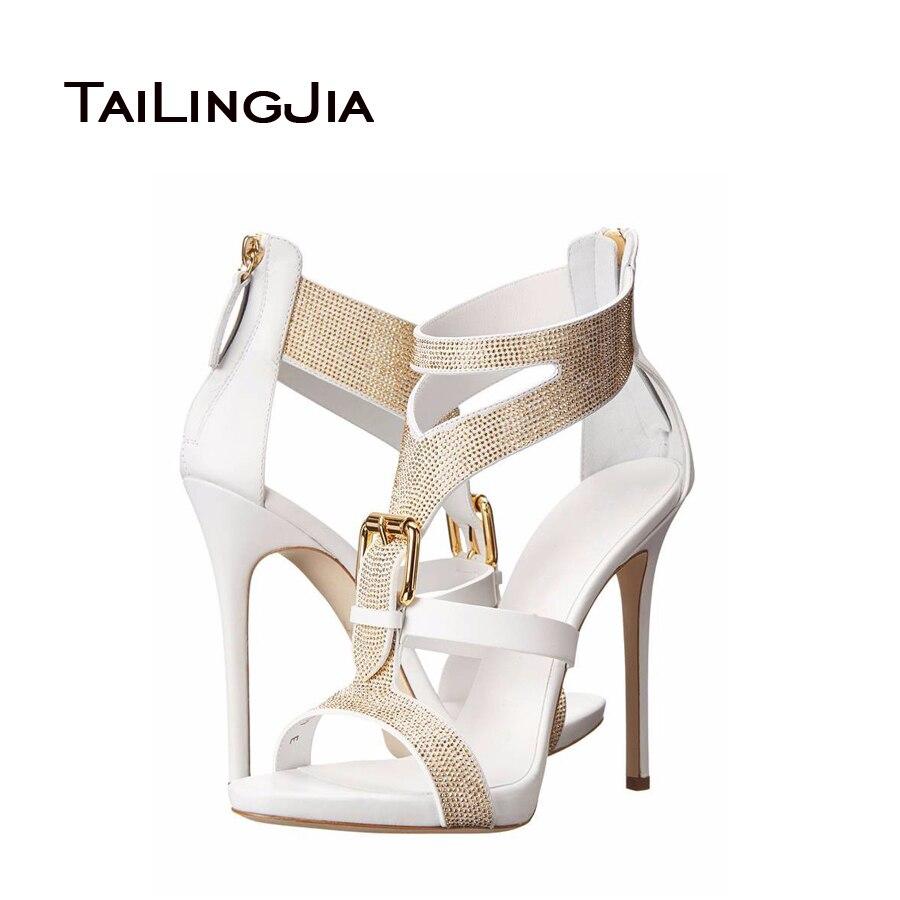 ФОТО 2017 Fashion Shoes Woman With Open Toe Back Zipper Closure High Heels Rhinestone Decoration Sandals Elegant Heels High Quality