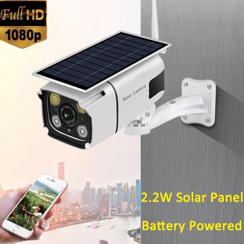 1080P Infrared IR IP66 Waterproof 1080P 2.0MP 2.2W Solar Panel Battery Power Wireless WiFi Security IP Solar CCTV Camera