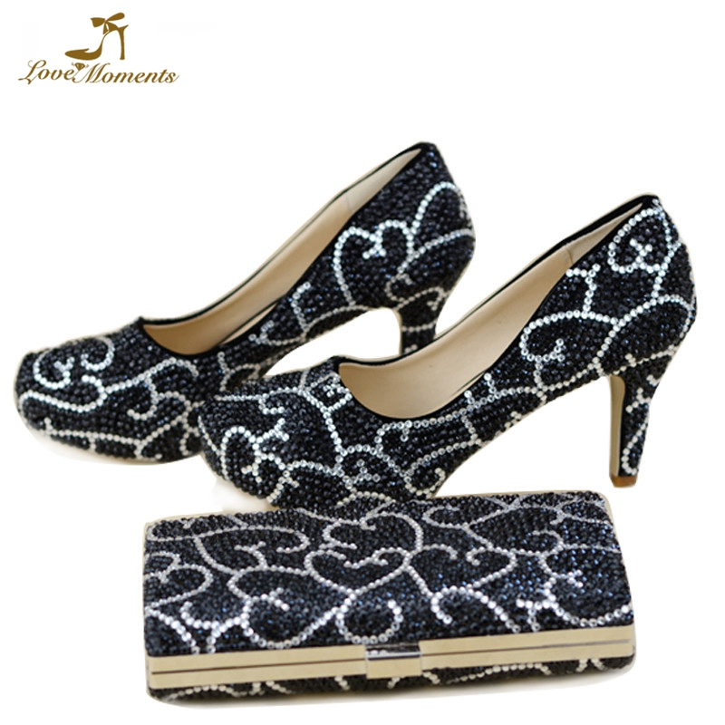 Wedding Shoes Black Rhinestone Woman Formal Dress Shoes with Matching Purse 3 Inches High Heel Adult Ceremony Pumps
