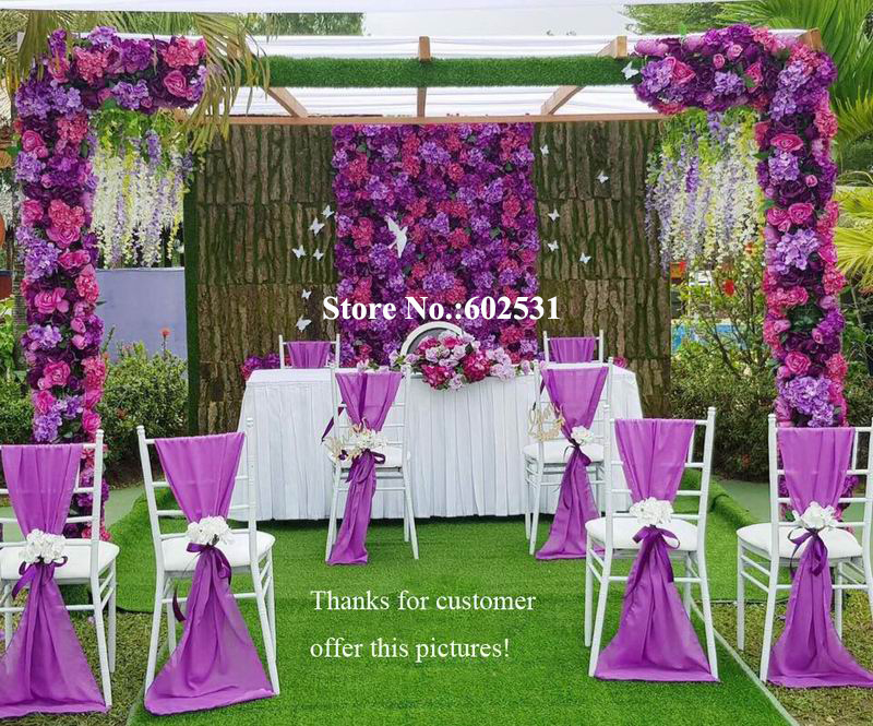 Wedding Ceremony Ideas Flower Covered Wedding Arch: SPR Purple With Green Wedding Rose Flower Wall Backdrop