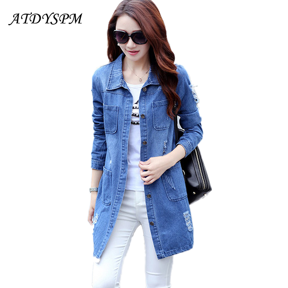 New Loose Women Breasted Denim Jackets Coats Sexy Holes Outwear Long Jeans Jacket Female Plus Size Tops Casual Womens Clothes