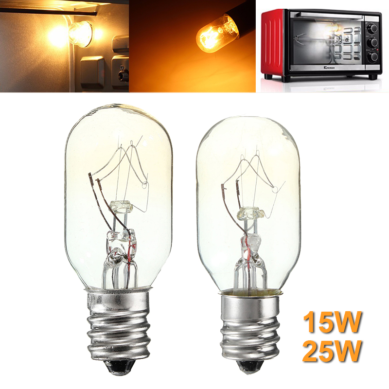 High Temperature 15W/25W Incandescent Bulb E12 Salt Lamp Toaster Oven Refrigerator Light Filament Bulbs Glass Lamp Lighting 120V
