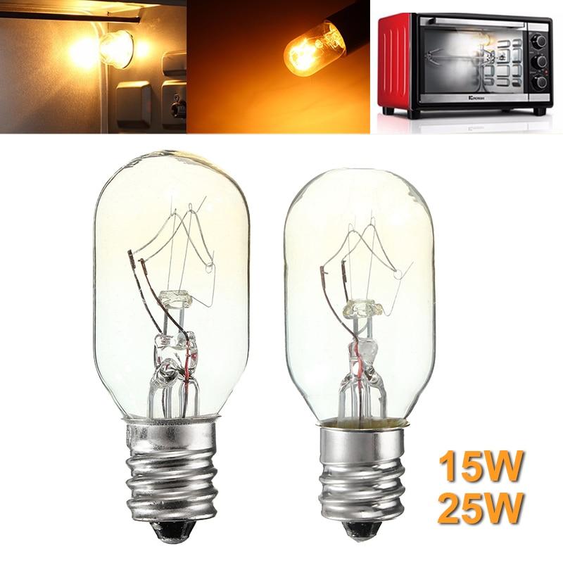 High Temperature 15W/25W Incandescent Bulb E12 Salt Lamp Toaster Oven Refrigerator Light Filament Bulbs Glass Lamp Lighting 120V