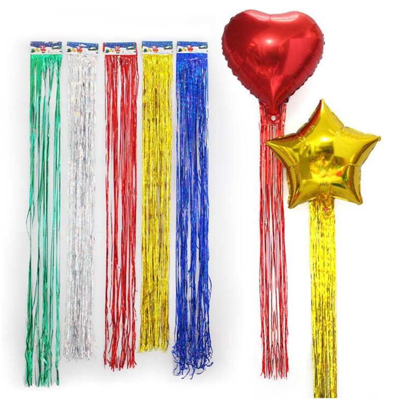 Image 4 - 5pcs Foil Tassel DIY Foil Fringe Tinsel Curtain Tassel Garland Ribbon Balloons Baby Shower Birthdays Party Wedding Decorations-in Ballons & Accessories from Home & Garden