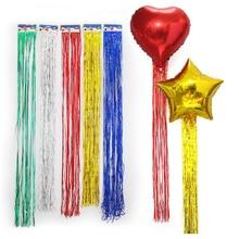 5pcs Foil Tassel DIY Foil Fringe Tinsel Curtain Tassel Garland Ribbon Balloons Baby Shower Birthdays Party Wedding Decorations