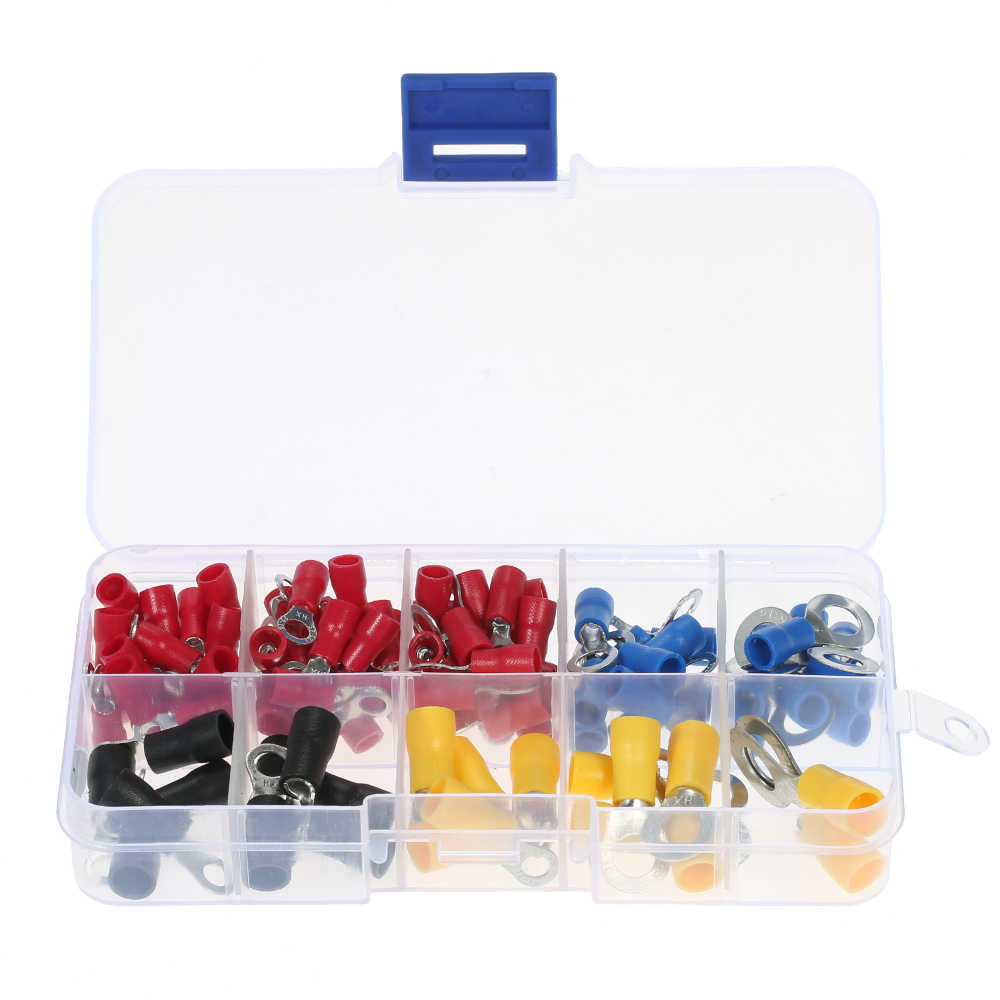 102PCS Assorted Insulated Crimp Terminals 10 Kinds Copper Crimp Electrical Wire Cable Connector Kit Cord Ring End Set With Box