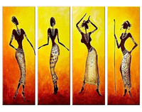 Handpainted Abstract Figure Oil Paintings on Canvas Large 4 Panel Wall Painting Modern Africa Women Pictures Home Decor Wall Art