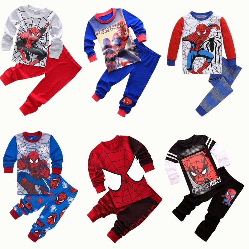 Kids Pajama Set cosplay Spiderman Boys Sleepwear 2-7 Years Girls Childrens pyjama T-shir ...
