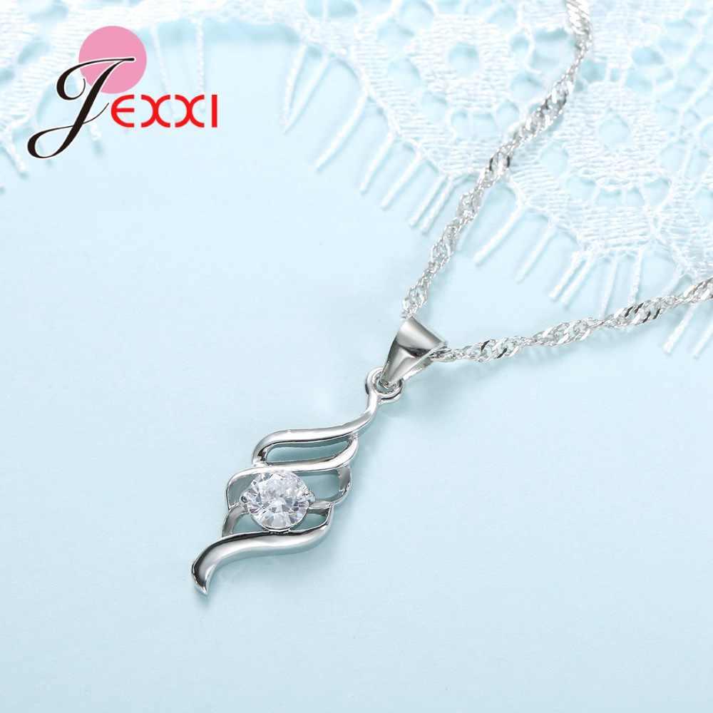 Stilvolle 925 Sterling Silber Sets Kristall Spirale Schmuck Weiblichen Kette Anhänger Halskette Ohrringe Schmuck-Set Für Frauen
